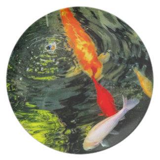 Prato Placa da melamina da lagoa de Koi