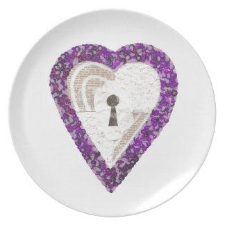 Prato Placa da melamina do coração do cacifo