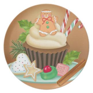 Prato Placa da melamina do cupcake do Natal