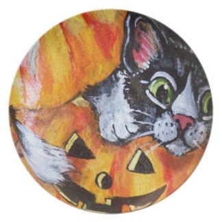 Prato Placa da melamina do Dia das Bruxas do gato preto