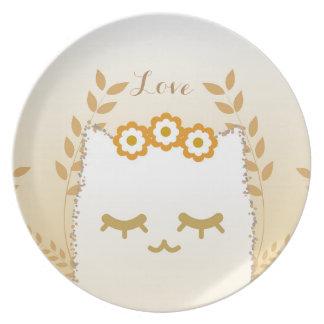 Prato Placa da melamina do gato da flor