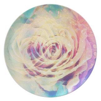 Prato Placa da melamina do rosa do Pastel