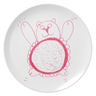 Prato Placa da melamina do urso do girassol
