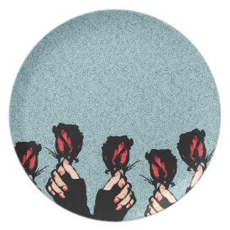 Prato Placa da melamina dos rosas