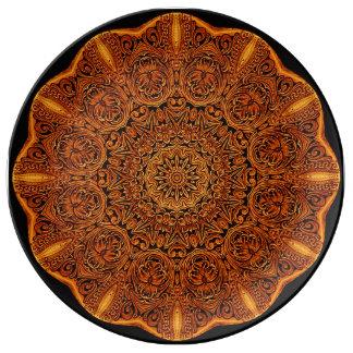 Prato Placa da porcelana da vinheta da mandala do