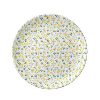 Prato placa da porcelana de três flores