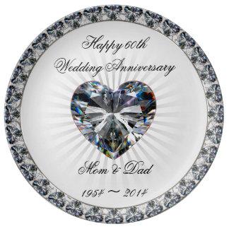 Prato Placa da porcelana do aniversário do coração 60th