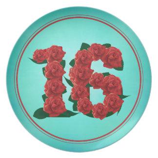 Prato placa de 16 rosas do aniversário do aniversário do