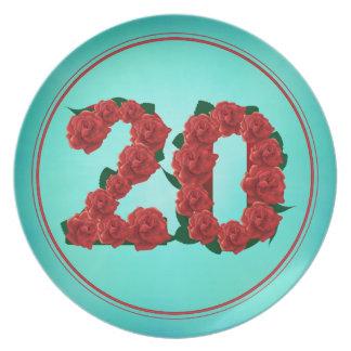 Prato placa de 20 rosas do aniversário do aniversário do