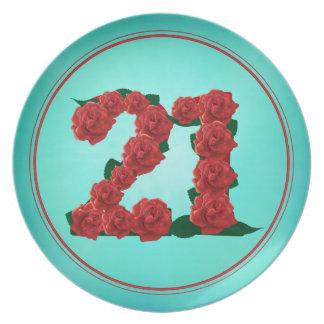 Prato placa de 21 rosas do aniversário do aniversário do