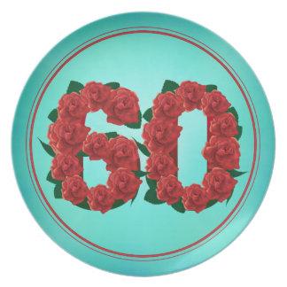 Prato placa de 60 rosas do aniversário 60th do