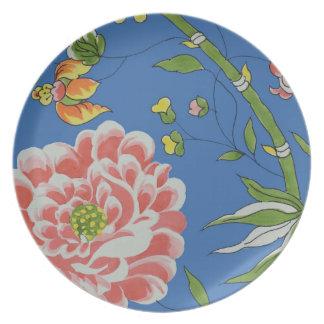 Prato Placa de bambu floral da melamina do LA do museu