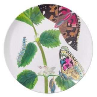 Prato Placa de borboleta da provocação
