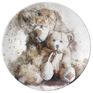 Prato Placa de comensal decorativa doce dos ursos de