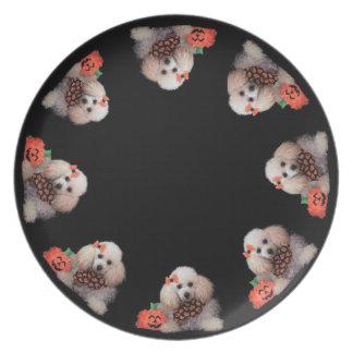 Prato Placa de comensal do cão de caniche do brinquedo