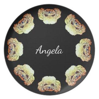 Prato Placa de comensal personalizada do cão de caniche