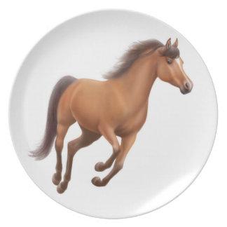 Prato Placa de galope do cavalo do puro-sangue