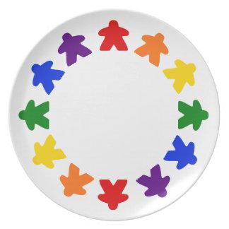 Prato Placa de Meeple do arco-íris