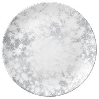 Prato Placa de prata cinzenta Sparkly do brilho