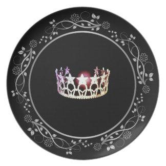 Prato Placa de prata da coroa da senhorita EUA com beira