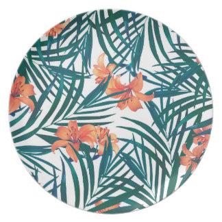 Prato Placa decorativa da melamina dos lírios tropicais