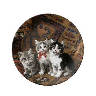 Prato Placa decorativa da porcelana de três gatinhos
