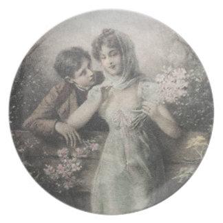Prato Placa decorativa da porcelana do casal bonito do