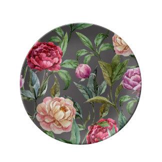 Prato Placa decorativa floral boémia da porcelana