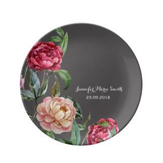 Prato Placa decorativa personalizada floral boémia