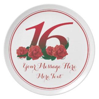 Prato Placa do aniversário 16 do aniversário do texto