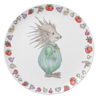Prato Placa do aniversário da melamina do ouriço de