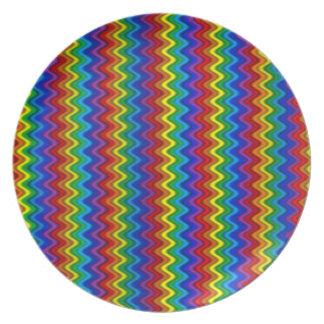 Prato Placa do arco-íris do ziguezague