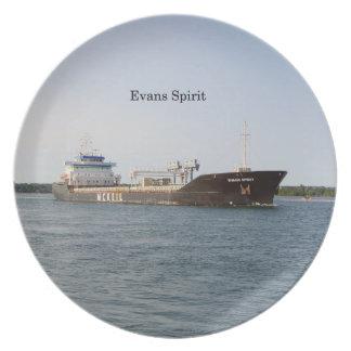 Prato Placa do espírito de Evans