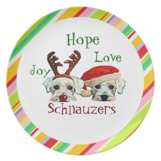 Prato Placa do feriado dos Schnauzers