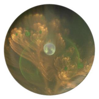 Prato Placa do Fractal da pérola da nogueira-do-Japão