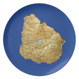 Prato Placa do mapa de Uruguai