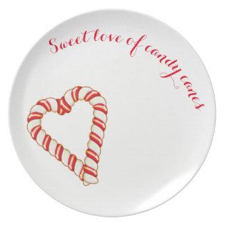Prato Placa doce do bastão de doces