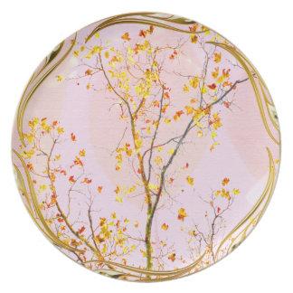 Prato Placa dourada da melamina da árvore genealógica