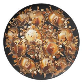Prato Placa dourada da melamina dos bules e dos cubos do