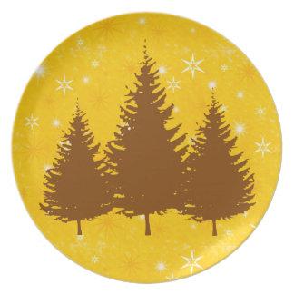 Prato Placa dourada da melamina dos pinhos