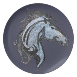 Prato Placa dramática da melamina do design do cavalo