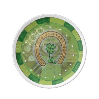 Prato Placa em ferradura irlandesa afortunada