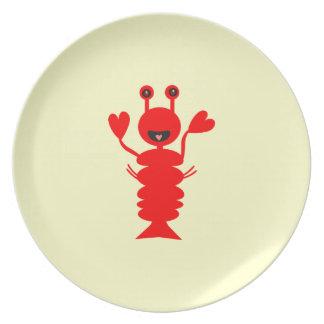 Prato Placa feliz da lagosta dos desenhos animados