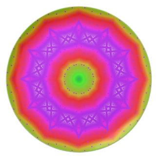 Prato Placa feliz da melamina das cores