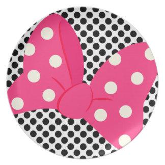 Prato Placa feminino do arco cor-de-rosa