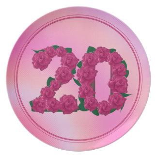 Prato placa floral do aniversário do aniversário de 20