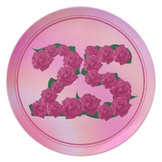 Prato placa floral do aniversário do aniversário de 25