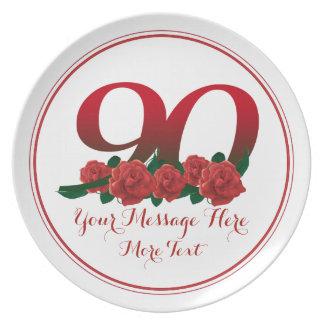 Prato Placa floral do número 90 feitos sob encomenda do