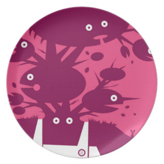 Prato Placa ilustrada do homem verde - rosa