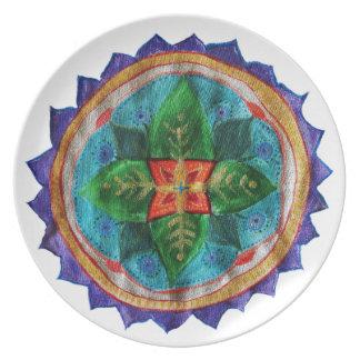 Prato Placa mágica da melamina da mandala